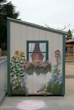 Amazing Shed Plans - Beautiful mural on the side of a storage shed via Morgan… Now You Can Build ANY Shed In A Weekend Even If You've Zero Woodworking Experience! Start building amazing sheds the easier way with a collection of shed plans! Garden Crafts, Garden Projects, Diy Garden, Garden Pool, Outdoor Projects, Painted Shed, Painted Garden Sheds, Painted Fences, Garden Mural