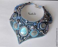 """Купить колье """"Царица"""" - голубой, колье из бисера, Вышивка бисером, Камни натуральные, бисер японский"""