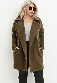 Plus Size Longline Textured Dolman Coat | Forever 21 PLUS - 2000163197