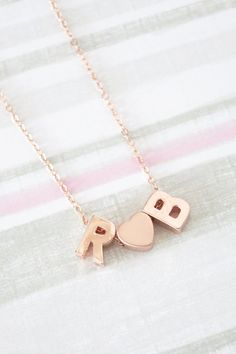 Personalized Rose Gold Letter and Love heart Necklace - Rose Gold Initial Rose Gold Filled, monogram, friendship, couples initial necklace, www.colormemissy.com