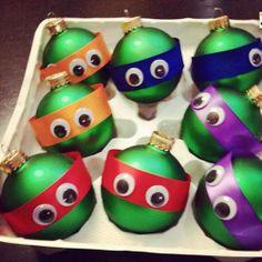 Teenage Mutant Ninja Turtle Christmas Ornaments. Needed supplies: Green Christmas Balls Orange, red, blue, and purple ribbon Google eyes  Glue ribbon to ball, glue on google eyes, and voila!  TMNT Christmas Ornaments!