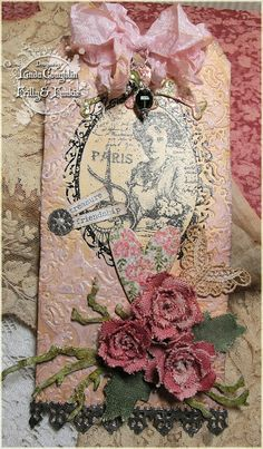 So Shabby Chic! I love everything about this right down to the smallest detail. The Funkie Junkie: Getting Crafty With Canvas Atc Cards, Card Tags, Shabby Chic Cards, Handmade Gift Tags, Paper Tags, Artist Trading Cards, Vintage Tags, Christmas Tag, Tag Art