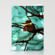 African Bird and Branches Aqua Stationery Cards by minx267 - $12.00
