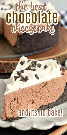 Rich and creamy, this No Bake Chocolate Cheesecake is the perfect weeknight dessert or holiday treat! Simple and delicious. No Bake Chocolate Cheesecake, Easy No Bake Cheesecake, Easy Chocolate Desserts, Baked Cheesecake Recipe, Cheesecake Desserts, Chocolate Recipes, Easy Desserts, Delicious Desserts, Dessert Recipes