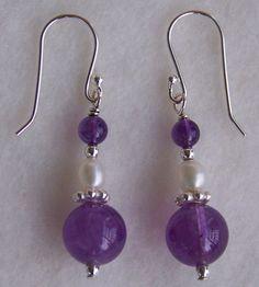 Purple and Pearls earrings...sterling silver, freshwater pearls and semiprecious gemstone amethyst.