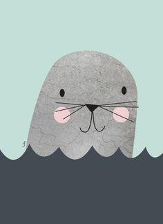 http://www.kidsinteriors.com/ Little Seal Turquoise via The Poster Club Kids