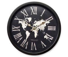 """World Map Black Clock, (15.75"""") at Big Lots."""