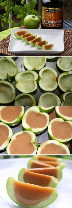 Instead of shots: Pour caramel in cored halved apples, refrigerate for 2 hours, then slice and drizzle chocolate over them. Instead of shots: Pour caramel in cored halved apples, refrigerate for 2 hours, then slice and drizzle chocolate over them. Holiday Drinks, Fun Drinks, Yummy Drinks, Beverages, Mixed Drinks, Jello Shot Recipes, Alcohol Recipes, Pudding Shots, Good Food