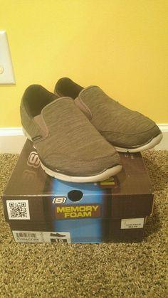Sketchers Men size 10 51504 / CCBK Black Caual Shoes Grey Slip Memory Foam S Up…