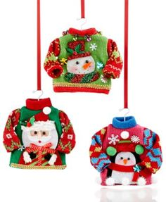 542b0f539acd Holiday Lane Set of 3 Ugly Christmas Sweater Ornaments