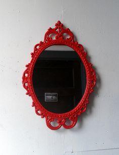 Ornate Oval Mirror in Vintage Metal Frame  by SecretWindowMirrors, $69.00