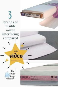 Video comparison of three different types of fusible woven interfacing. Which woven interfacing to use for bag making? I compare ShapeFlex SF101, WovenFuse 2 and Thermoweb Soft Woven Interfacing. See how these interfacing products compare side by side, how they change the fabric differently and my tips for which product might be best for which situation. Which interfacing to use for bag making. Which interfacing is best for my sewing pattern. Sewing Lessons, Sewing Tips, Sewing Hacks, Interfacing Fabric, Simple Bags, Joann Fabrics, Lessons For Kids, Sewing For Beginners, Learn To Sew