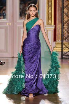 2013 zuhair murad robes du soir haute couture de l'paule deux couleur pourpre plumes. magie. zh66 robes de bal  long