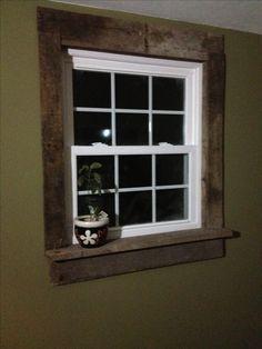Pallet window casings- project for living room window