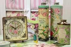 Powder tins and a pretty clock - Vintage Home