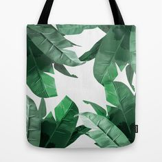 """Tropical Palm Tote Bag - Banana Leaf print, inspired by Hinson's """"Martinique"""" wallpaper, featured in Beverly Hills Hotel."""
