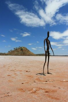 See sculptures by world renowned artist Antony Gormley at one of Western Australia's most unusual and remote cultural attractions - Inside Australia -Antony Gormley Sculptures. The artwork is a collection of 51 black steel sculptures standing over 10 square kilometres of the white salt plain of Lake Ballard about a 40 minutes drive from the town of Menzies.  Each sculpture represents one of the 131 local residents, whose bodies were scanned for casts.