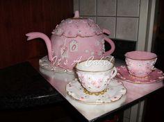 TEAPOT CAKE WITH GUMPASTE TEA CUPS AND SAUCERS
