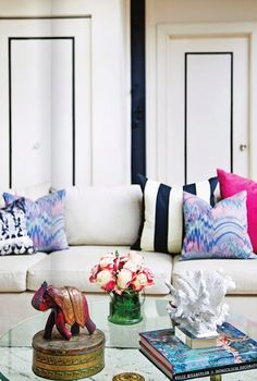 tie dye, hot pink and nautical stripe pillows.