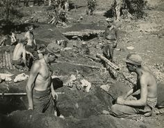 Digging foxholes in anticipation of Japanese attack in central Burma. Photographer Unknown