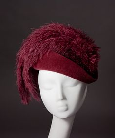 from House of Nines Design: 'Maxima' draped cocktail hat with big feathers $225