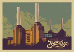 Battersea Power Station illustrated vintage print