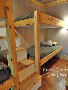 Double bunk bed plans The wheeled table can be removed Ladder plans Twin over Full bunk bed with stairs that double as drawers Turn a loft bed Double Bunk Beds, Bunk Beds Built In, Bunk Beds With Stairs, Cool Bunk Beds, Kids Bunk Beds, Triple Bunk, Bed Stairs, Corner Bunk Beds, Cabin Bunk Beds