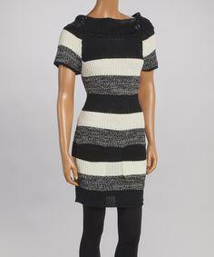 This Black & Vanilla Stripe Cowl Neck Sweater Dress by Cherry Stix is perfect! #zulilyfinds