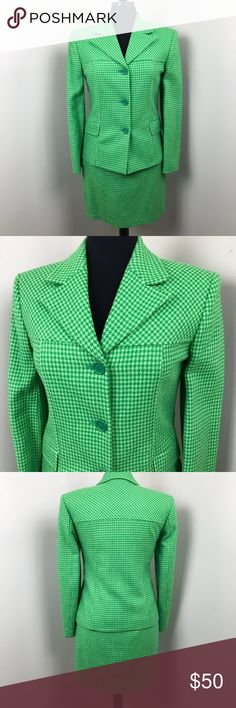 """Benetton Green Houndstooth Skirt Suit - 6 Stunning and rare skirt suit from United Colors of Benetton in a green houndstooth pattern. This suit is a size 6 (Italian size 42) and fully lined. Measurements lying flat are skirt: 13"""" waist & 18"""" long and jacket: 17"""" bust and 23"""" long. The skirt has a Benetton tag still on it, although there are no other store/price tags, however the suit looks to be brand new. Ready to ship from a non smoking home. United Colors Of Benetton Skirts Skirt Sets"""