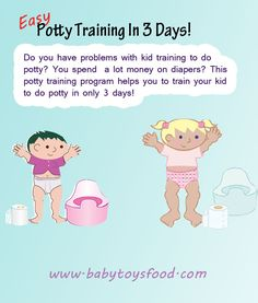 Do you have problems with kid training to do potty? You spend a lot money on diapers? This potty training program helps you to train your kid to do potty in only 3 days!