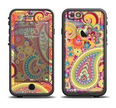 The Neon Orange Paisley Pattern Apple iPhone 6/6s Plus LifeProof Fre Case Skin Set from DesignSkinz