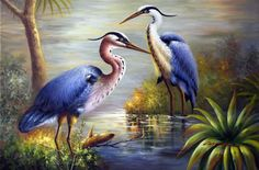 Great Blue Heron Egret Birds Pair Large Oil Painting(China (Mainland))