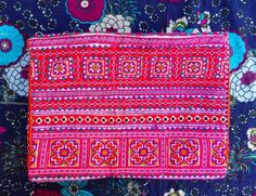 Modern Vietnamese purse with appliqué and hand embroidered cross stitch panels. 10.1.14