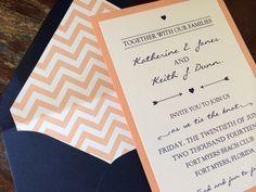 Navy and Salmon Wedding Invitation Chevron by decadentdesigns, $3.00