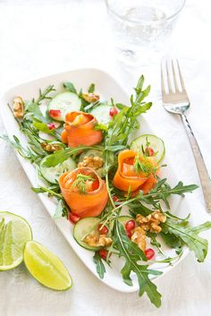 Smoked salmon with pomegranate salad   by vanillaechoes, via Flickr