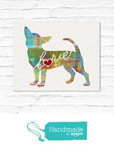 Chihuahua Dog Love - An Unframed Canvas Paper / Watercolor-Style, Contemporary & Modern Dog Breed Wall Art Print from traciwithani http://www.amazon.com/dp/B0169A280O/ref=hnd_sw_r_pi_dp_uYQfwb0M5B2T2 #handmadeatamazon