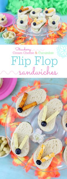 Flip Flop Sandwiches. So cute, great for summertime parties and beach parties. These are made with Sargento Cheese Snacks, Blueberries, Cucumbers and Strawberry Cream Cheese. Adorable! AD