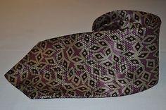 Vintage CERRUTI 1881 PARIS beige GEOMTRIC multi-color purple mens 100% SILK TIE