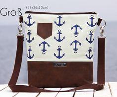 Maritime Tasche mit Ankern, Shopper / shopper bag with maritime pattern, anchor made by ZwillingsZwirn via DaWanda.com