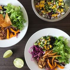 Bol-tacos au tempeh et salsa de mangue, concombre et avocat Valeur Nutritive, Tempeh, Salsa, Tacos, Ethnic Recipes, Posts, Food, White Wine Vinegar, Hot Sauce