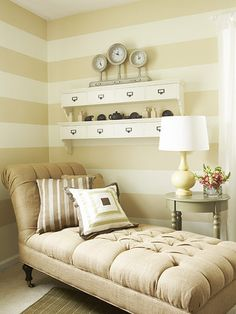 """Resting Spot        Saint-Onge wanted this room to also be a space where Kristin could relax. He added a chaise longue in a neutral color. """"The chaise gives Kristin a place to kick back with her laptop,"""" Saint-Onge says."""