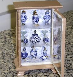 debbie's mini thoughts and creations: - made with beads and findings avail at Michaels in Ontario Miniature Rooms, Miniature Furniture, Dollhouse Furniture, Miniature Bottles, Diy Dollhouse, Dollhouse Miniatures, Mini Craft, Fairy Garden Accessories, Mini Things
