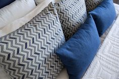 Nautical Master Retreat » Natalie Fuglestveit Interior Design Navy Chevron, Chevron Fabric, Wool Pillows, Throw Pillows, Calgary, Interior Inspiration, Nautical, Blue And White, Interior Design
