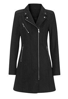 22ab061c9d1a8 Ellos Women s Plus Size Slanted Zip Coat Black