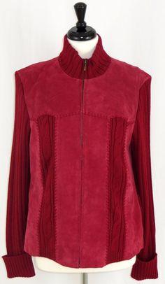 Womens Suede Sweater Jacket Coat Zip Front Red Raspberry Coldwater Creek XL…