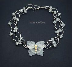 Butterfly Bride Glass Necklace lampwork jewelry by MariaKirillova