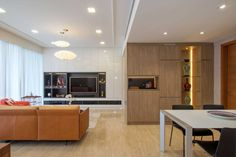 This elegant apartment is a private residence located in Singapore. #LivingRoom #Interior #Home