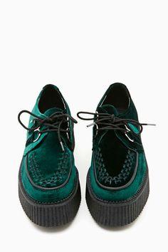 T.U.K. Mondo Velvet Creeper - Green - Sneakers | Back In Stock
