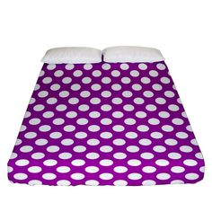 White and purple, polka dots, retro, vintage dotted pattern Fitted Sheet (Queen Size) Bed Sizes, Queen Size, Creative Design, Duvet Covers, Retro Vintage, Pillow Cases, Bedding, Polka Dots, Outdoor Blanket