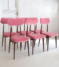 italian chairs wallnut and velvet juego de sillas italianas aos